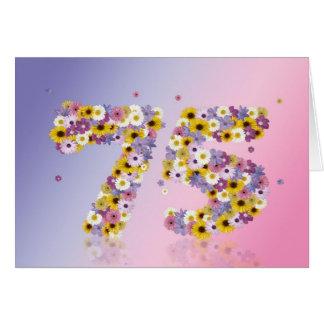 75. Geburtstagskarte mit blumigen Buchstaben Karte