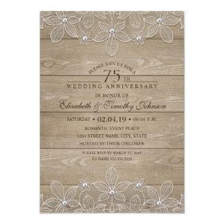 75. Hochzeits-Jahrestags-rustikale hölzerne Karte