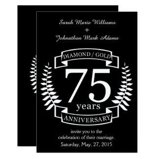 75. Hochzeitstag DIAMANT-GOLD 12,7 X 17,8 Cm Einladungskarte