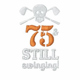75 u. noch schwingen - Golf-Geburtstags-Shirt Besticktes Polo Shirt