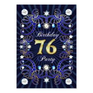 76. Geburtstags-Party laden mit Massen der Juwelen 12,7 X 17,8 Cm Einladungskarte