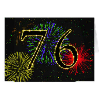 76. Geburtstagskarte mit Feuerwerken Karte
