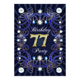 77. Geburtstags-Party laden mit Massen der Juwelen 12,7 X 17,8 Cm Einladungskarte
