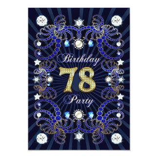 78. Geburtstags-Party laden mit Massen der Juwelen 12,7 X 17,8 Cm Einladungskarte