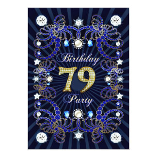 79. Geburtstags-Party laden mit Massen der Juwelen 12,7 X 17,8 Cm Einladungskarte