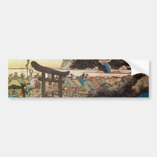 7. 藤沢宿, 広重 Fujisawa-juku, Hiroshige, Ukiyo-e Autoaufkleber
