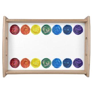 7 Chakra #2 Regenbogen-Grafik Serviertablett