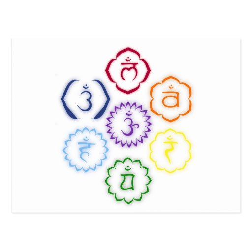 7 Chakras in einem Kreis Postkarte