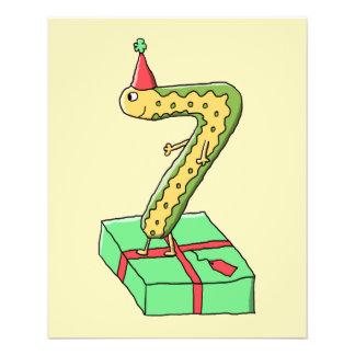 7. Geburtstags-Cartoon, Gelb und Grün Custom Flyer