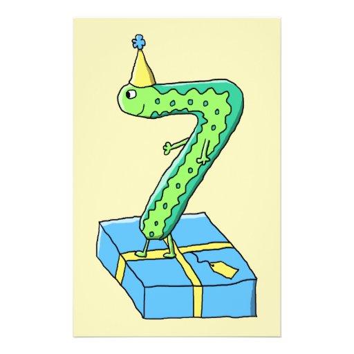 7. Geburtstags-Cartoon, Grün und Blau Flyers