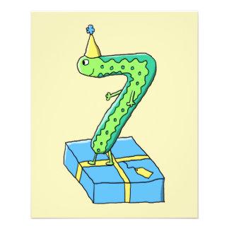7. Geburtstags-Cartoon, Grün und Blau Flyerdesign