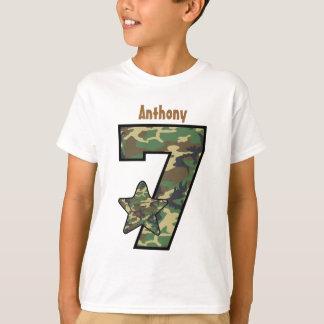 7. Geburtstags-Jungen-Camouflage-individueller T-Shirt