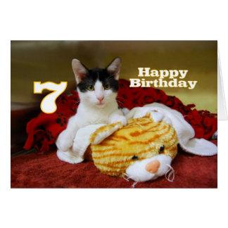7. Geburtstags-Kätzchen mit Spielzeug-Tiger Karte