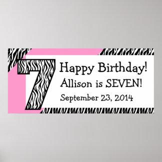 7. GeburtstagZebra mit rosa individuellem Namen Posterdruck