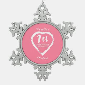 7. Hochzeitstag gemaltes Herz Schneeflocken Zinn-Ornament