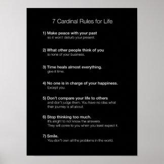 7 Kardinals-Regeln für das Leben Plakat