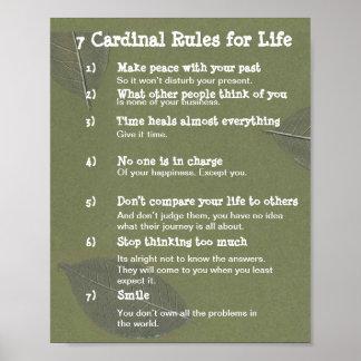 7 Kardinals-Regeln für das LEBEN Poster