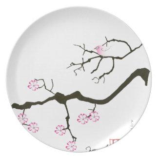 7 Kirschblüte-Blüten mit rosa Vogel, tony Melaminteller