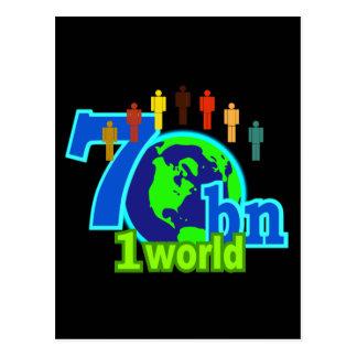 7 sieben Milliarde Weltbevölkerungs-Entwurf Postkarte