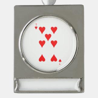 7 von Herzen Banner-Ornament Silber
