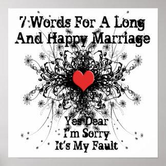7 Wörter für eine lange und glückliche Heirat Poster