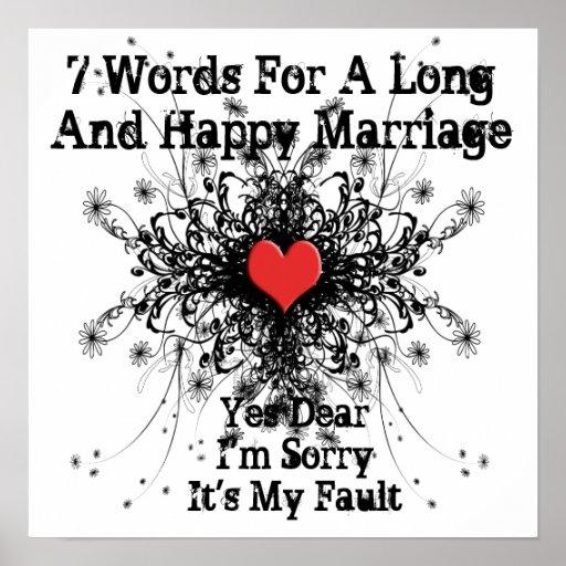 7 Wörter für eine lange und glückliche Heirat Plakatdrucke
