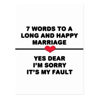 7 Wörter für eine lange und glückliche Heirat Postkarte