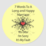 7 Wörter zu einer langen Heirat Runde Sticker