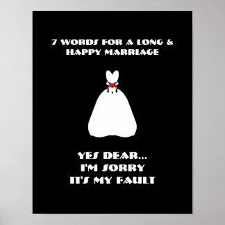 7 Wörter zu einer langen und glücklichen Heirat - Plakatdruck