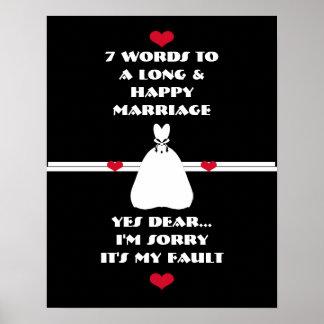 7 Wörter zu einer langen und glücklichen Heirat - Poster
