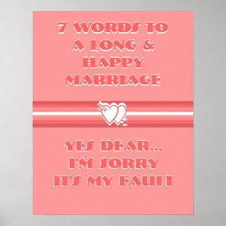 7 Wörter zu einer langen und glücklichen Heirat - Plakat