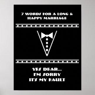 7 Wörter zu einer langen und glücklichen Heirat -  Plakatdrucke