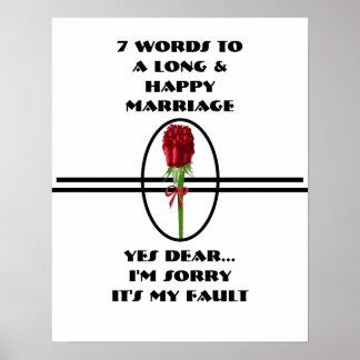 7 Wörter zu einer langen und glücklichen Heirat - Posterdrucke