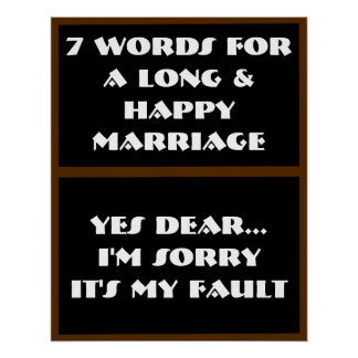 7 Wörter zu einer langen und glücklichen Heirat -  Plakate