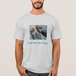 800px-Sea_otters_holding_hands, retten das Meer T-Shirt