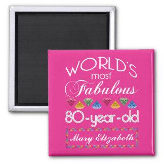 80. Geburtstag das meiste fabelhafte bunte Quadratischer Magnet