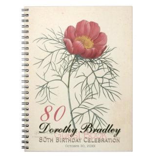 80. Geburtstags-Party-botanisches Spiral Notizblock