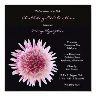 80. Geburtstags-Party Einladungherrlicher Gerbera Quadratische 13,3 Cm Einladungskarte