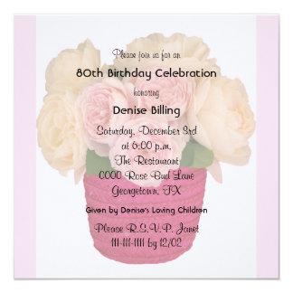 80. Geburtstags-Party Einladungs-Garten-Rosen Quadratische 13,3 Cm Einladungskarte