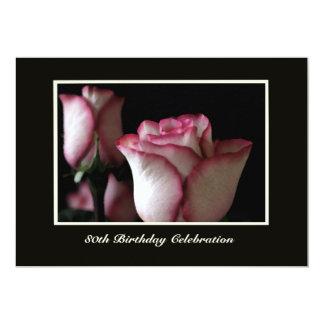 80. Geburtstags-Party Einladungs-herrliche Rosen 12,7 X 17,8 Cm Einladungskarte