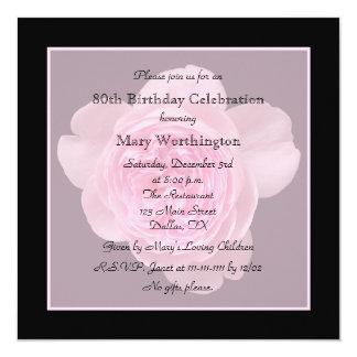 80. Geburtstags-Party Einladungs-Rose für 80. Quadratische 13,3 Cm Einladungskarte