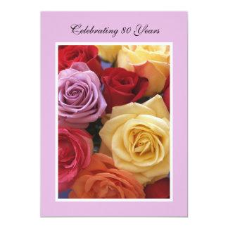 80. Geburtstags-Party Einladungs-Rosen 12,7 X 17,8 Cm Einladungskarte