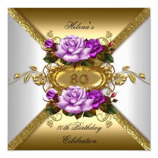 80. Geburtstags-Party-elegante Rosen-lila Gold 2 Quadratische 13,3 Cm Einladungskarte