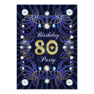 80. Geburtstags-Party laden mit Massen der Juwelen 12,7 X 17,8 Cm Einladungskarte