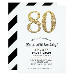 80. GEBURTSTAGS-PARTY LADEN modernen GoldGlitter Karte