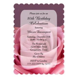 80. Geburtstags-Party mit Rose 12,7 X 17,8 Cm Einladungskarte