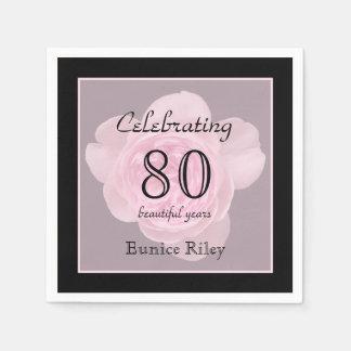 80. Geburtstags-Party-Rosen-Papierservietten Papierservietten