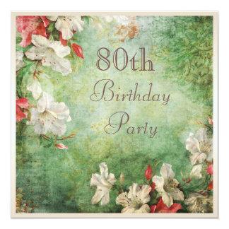 80. Geburtstags-Party-Shabby Chic-Hibiskus-Blumen Quadratische 13,3 Cm Einladungskarte