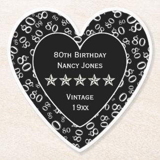 80. Geburtstags-Party-weißes/schwarzes Thema Untersetzer