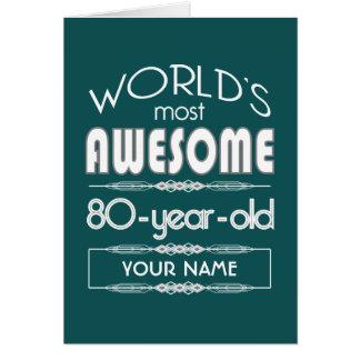 80. Geburtstags-Weltgut fabelhaftes dunkelgrünes Karte